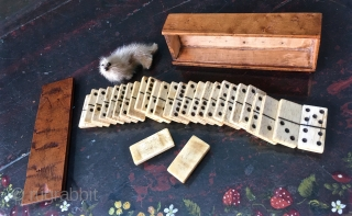 """Antique 19thC hand crafted Box of Bone Dominos. Probably Sailor made. 7""""x 2""""x 1.5"""""""