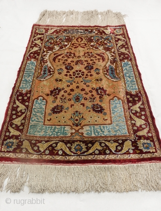 Beautiful Hand-Knotted Silk on Silk and Silver  Brocade Turkish Hereke signed (ÖZEL HEREKE) c.92x61 cm  (circa 1950)   This is a rare masterpiece from the Özel atelier in Hereke.  It  ...