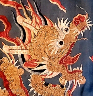 Yoke fragment of a finely embroidered Chinese Ming dynasty Nobleman's dragon robe. Wanli period 1572-1620 AD.