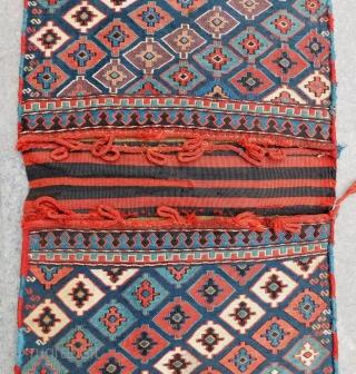 Antique Shahsaven Soumak Saddlebag Circa 1880-90 All Colours Natural Size .115x52 Cm