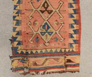 Early 19th Century Anatolian Kilim Yastık All Colours Natural Size.98x58 Cm