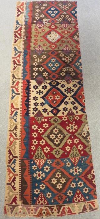 Mid 19th Century East Anatolian Kilim fragment Size.265x85 Cm