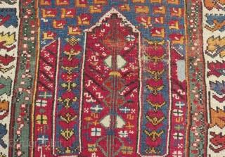 Mid 19th Century West Anatolian Mihalic Prayer Rug Size.112x94 Cm