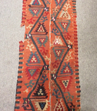 Early 19th C East Anatolian Kilim Border Two Pieces Size.293x26cm.290x23 Cm