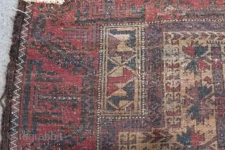 Antique Baluch Prayer fragment Rug Size.138x78 Cm