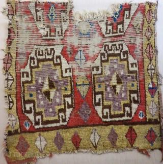 Early 18th Century Central Anatolian Capadokya fragment Rug Size.95x92 Cm