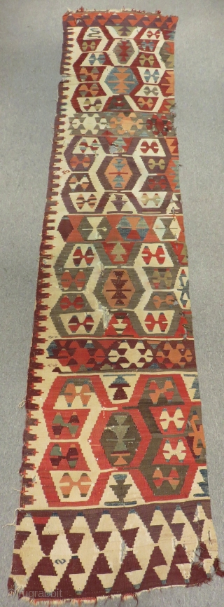 Mid 19th Century Anatolian Kilim One part Size.325x70 Cm