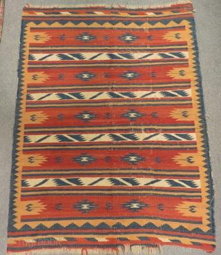 Antigue Persian Qashqai Kilim Size.164x126 Cm