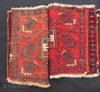 Second 19th C West Anatolian Bag face Two pieces Size.41x35 Cm 41x33 Cm