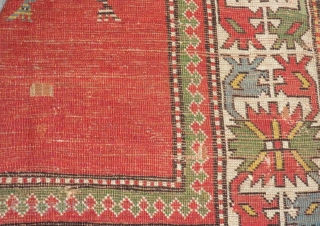 Antique Caucasian Borjalu Kazak Rug Circa 1870.80 Size.232x122 Cm