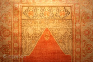 Istanbul Silk Prayer Circa 1880 a part of the rug has metal-wrapped cotton weaving 4 X 5.6