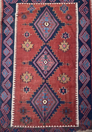 """Shirvan Kelim  mid 19th Century  Measuring 8' x  5'2"""" Good condition   Shipping is not included in the price"""