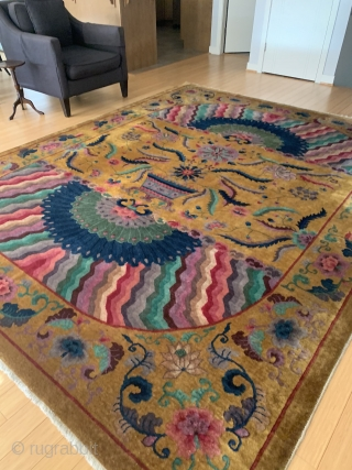 Chinese Art Deco Measuring: 9'  x  11' One of the most unique examples of Chinese Art Deco rugs This piece was purchased in Boston in 1950's  Shipping is not included in the price