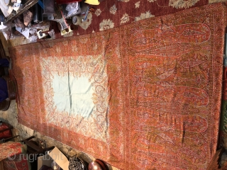 Exceptional 1850s French woven shawl from Lyon, doubles with blue silk cotton fabric   Size more than 3 meters long