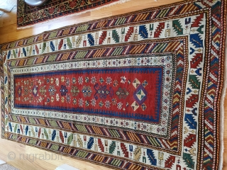 """Older SE Caucasian long rug,very fine weave ,colors and drawing. 14 count em' 14 major and minor borders . Has some old repairs as expected ca 1880,intact and collectible ,  43""""x93"""""""