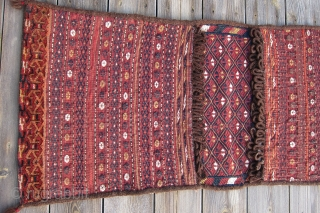 """Afghan Yomud khordjin, 1st qtr. 20th C., 1'7"""" x 3'5"""".  Pristine condition, excellent symmetry, technique and execution.  Given the high quality of the work, this was most probably woven as  ..."""