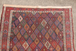"Jaf Kurd rug, Late 19th c., 4'8"" x 8'4"".  An exceptional Jaf Kurd rug, rare and beautiful. Lovely naturally dyed colors in an amazing display of diamonds.  Approximately, approx. 2  ..."