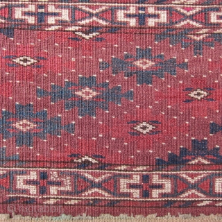 "Yomud mafrash, circa 1875, 12"" x 24"".  Natural dyes, symmetrical knotting, lustrous wool.  Pieces showing this design are usually attributed to the Yomud Igdyr subtribe, and are relatively rare.   ..."