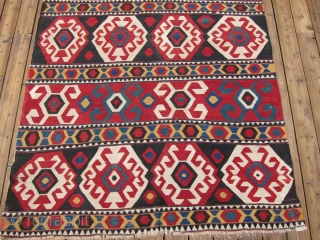 """Zangadzor Region Kilim, S. Caucasus,  5'9"""" x 8'11"""".  A strikingly beautiful kilim with intense rich colors. There is a sleeve on the back for hanging. Minor restoration along the edges.  ..."""