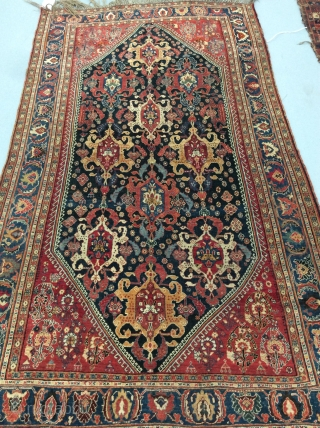 "Qashqai rug, 4'5"" x 7'7"", circa 1880.  This sophisticated and perfectly proportioned rug exhibits  a beautifully rendered  so-called ""Turtle"" design as the primary design feature.  Its symmetry is  ..."