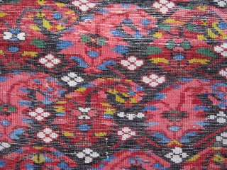 """19th C. small Kuba rug, 2'5"""" x 3'. A most colorful display of botehs on this rare, chunky N.E. Caucasian rug. Two old patches, one 2"""" x 3"""" and the other 1  ..."""
