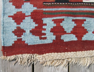 """Antique Shahsavan kilim 4'9"""" x 9'4""""  Excellent condition (small bites in 3 corners). Light blue and ivory are worked in cotton. Additional photos available."""