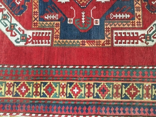 Very attractive antique Kasin Oushak from Karabagh area. This rug is in good condition for its age, both ends are intact, low even flat pile from top to bottom, with showing minor  ...