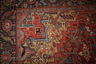 "A Magnificent antique Persian Heriz from 1910.It is in phenomenal condition with an absolute nice size 10'-8"" x 13'-4"",which fits in 11' x 13' size category, that is an odd size, and  ..."