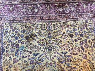 An Attarctive 100% antique Silk pile Persian Kashan, measures 7; x 10'. It is in amazing condition.