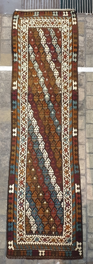 Authentic kilim from ARDAQ village of Qazvin province Have a touch of shahsavans in it Whites and blues are cotton , excellent  condition,fringes are originally plumbed  Circa 1950,measurements  425*115 cm