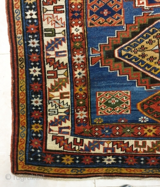 Magnificent caucasus rug designated with 6 amazing central medallions,patterns are crisply drawn,dramatic use of color is fascinating Wool foundation ,circa 1910-20  Dimensions 235 * 136  Dm for price