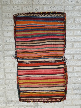 Qashqai colourful  unusual khorjin , with sharp vivid colors In excellent  condition , a rare piece