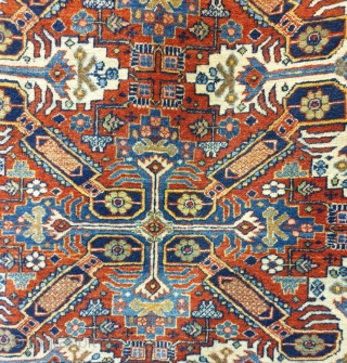 An amazing rug with zeikhur pattern , interestingly is that the rug is woven in Kashan of iran , weaving density is high. The condition is excellent considering the age , circa 1940  ...