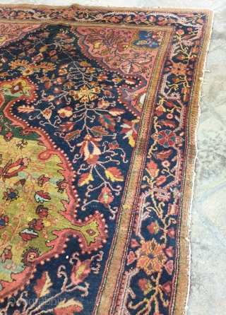 Farahan rug  Stems and leafs creates a marvelous vision in this antique farahan rug , superb natural colours adds account into it , pleasing green colors on medallion would catch everyone's attention ,  ...