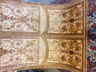 Seldom two sided kerman silk rug  It is designed  like a door with slots to be opened  100 % silk , mid 19th century  A rare piece , collectors choice  Excellent  ...