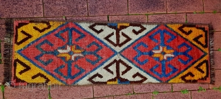 This is likely an Uzbek or Kyrgyz julkyr strip, which would have been sewn together with others to make a sleeping rug.   Big bold design and great balance of colour.  Approx 117x37cm. No  ...