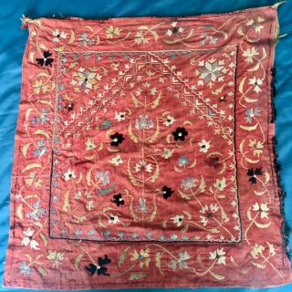 Beautiful small Suzani Prayer 53 cm by 56 cm   cotton and silk   Late C19th ?  Pay PayPal   postage included   for UK only