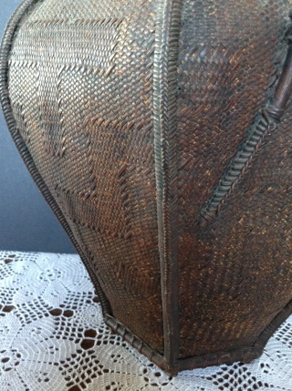 Japanese Bamboo Basket, late 19th century, comes with bamboo insert for flower arrangements. This basket has a very unusual weave.  There is a design woven into the basket and it is much  ...