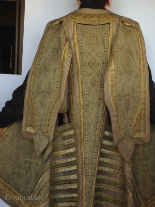 This is a coat from Albania which was part of the Ottoman Empire before the First World War.  The Gold couching work is typical of the Turkish style which was very  ...