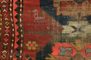 Armenian rug, antique,  with text.  Zurvanist fire torch and fire symbol in the border.  Wine glass and saw blade called.  1900-1910. wool on wool.  360 x 125 Cm. - 12 feet  ...