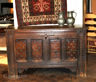'Bahut', French for this kind of chest, 17th century.  Oak with a beautifull patine 100% original.  size 136 Cm. wide, 83 Cm. high and 63 Cm. deep.   Comes in a box, USA  ...