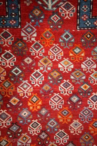 Prayer rug, Caucasus, Shirvan area.  150 x 110 Cm.  Dated with caracters. Azeri??? Not Farsi of Armenian.  Natural colors.