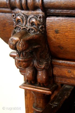 Dutch 1st half 17th century Kussenkast.  Oak. High 154 Cm's. - 5 feet 5 inch.  Ask for details