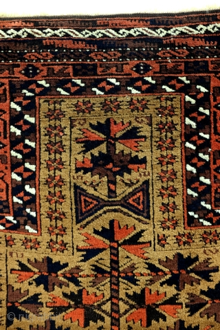 Sold Antique Beloudj Prayer Rug.  1870-1895. 160 x 86 Cm.   5.3 ft x 2.8 ft.    High quality.  Camel ground, embroidered edges.  Warp and weft of white wool.