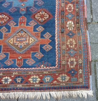"""Caucasian Shirvan ca. 1900, 184  x 117 cm., 6' x 3'10"""". Knotted on woolen ground and with all natural dyes. With lower browns and some wear in two places ( see  ..."""