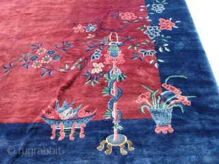 #6480 Antique Art Deco Chinese Rug 