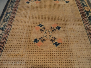 "This Ningxia Chinese Oriental Rug measures 6'5"" x 12'5"" (195 x 378 cm). It is the so called 'Rice' design motif on a yellow to wheat colored ground. There are five medallions  ..."