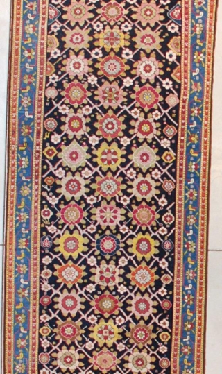 "This 19th century Karabaugh antique Oriental Rug runner measures 3'5""  X 16'2"" ( 106 x 494 cm). It has a really lovely Minekani design. The flowers are done in tobacco, various  ..."