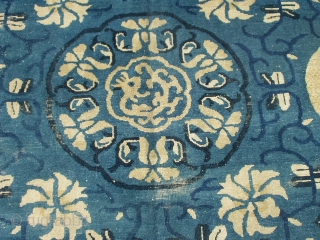 """#6232 Very Antique Peking Chinese This circa 1850 very Antique Peking Chinese rug measures 8'10"""" x 11'5"""". It has a dark blue to indigo vine design with ivory flowers completely covering the light  ..."""