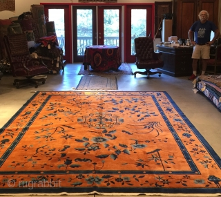 A PAIR of Antique Art Deco Chinese Oriental Rug 9'0″ X 11'7″ in pumpkin and two tones of blue. Rarely do you see a pair of Chinese rugs from this era. Immaculate  ...